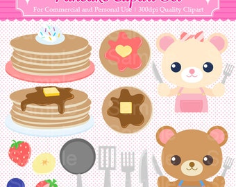 Pancake Clipart Set - For Commercial and Personal Use Cliparts