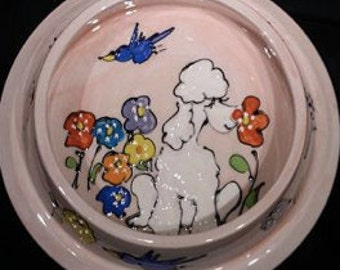 Hand Painted Ceramic Poodle Dog Bowl
