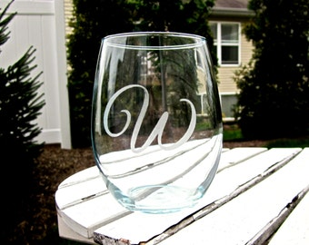 Etched Stemless Wine Glass- One Initial