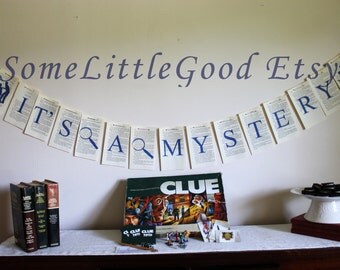 Game Night Party Decor, Large Mystery Party Garland, Sleuth or Detective Party Banner Printed on Nancy Drew or Hardy Boy Book Pages