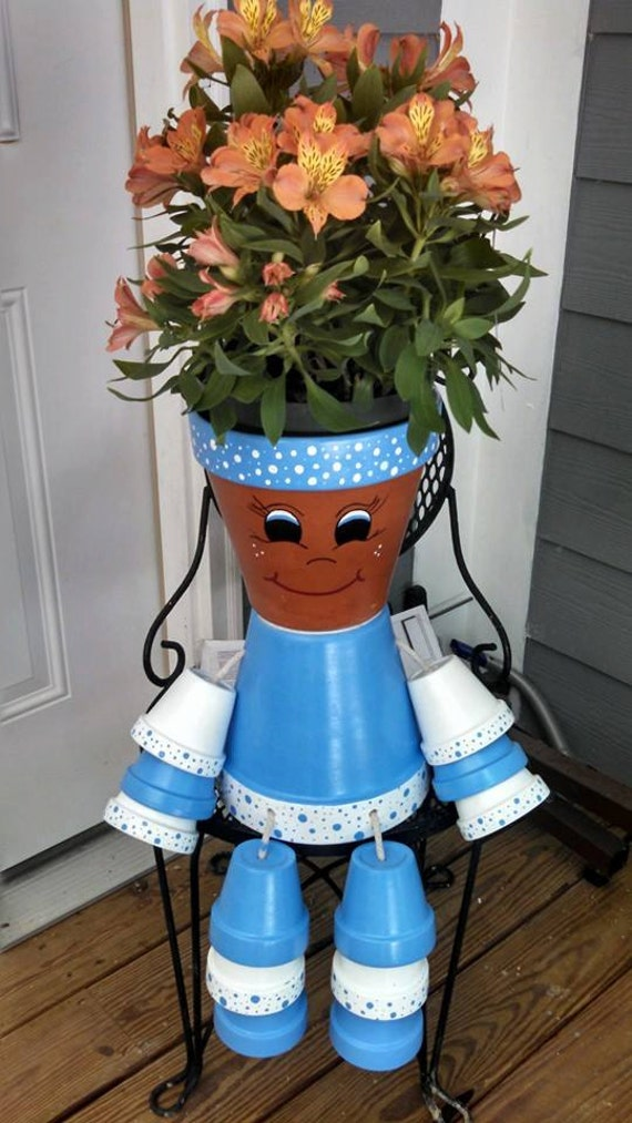 Items similar to flower pot people pot person planter for How to make clay pot people
