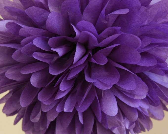 Purple Tissue Paper Pom, Purple Pom, Purple Tissue Paper Pom Pom, Purple Paper Flower, Tissue Flower, Wedding and Birthday Party Decor, Poms