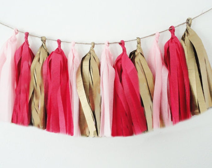 Hot pink Tassel garland, Light Pink Tissue tassel garland, Tissue garland in antique gold, light pink, and hot pink for a birthday or shower