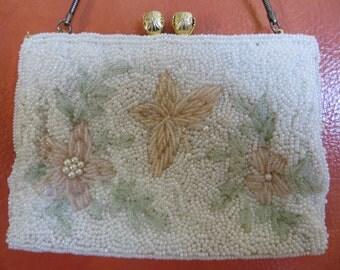 Beautiful Vintage Flowered White Beaded Handbag