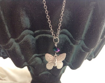 Butterfly and Crystal Necklace