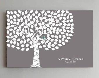 150 Guest Wedding Guest Book Wedding Gray Tree Wedding Guestbook Alternative Guestbook Poster Wedding Guestbook Poster - Grey