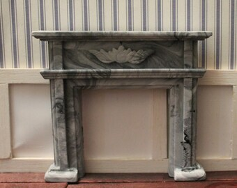 DOLLHOUSE MINIATURE Federation Fireplace Stone/ Marble Finish