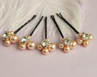 Sale Peach  5 bridal hair Pins, Swarovski pearls bridal accessories Wedding hairpiece Rhinestone white ivory navy blue pink peach muavee
