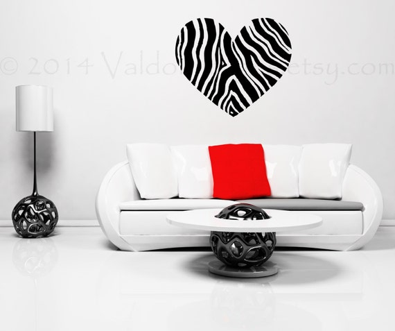 Zebra Print Heart Wall Decal Zebra Wall Decal By Valdonimages