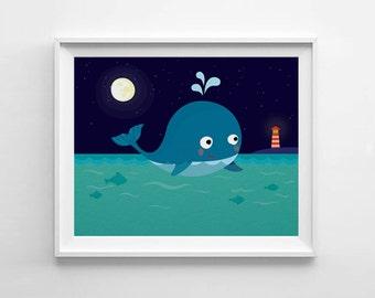 Blue Whale, Nursery art, digital print, printable wall art, kids room decor, illustration print, nursery decor, kids art, children wall art