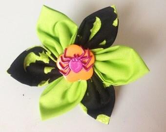 Halloween Bat  Dog Collar Flower with Spider