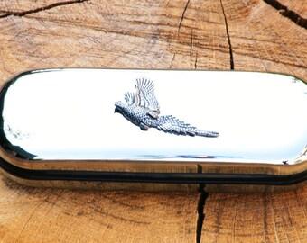 Pheasant Metal Pen Case & Ball Point Set Personalisable Gift