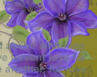 "Floral painting print, Original digital painting ""Clematis Love""  A floral painting with purple Clematis on a geen background."