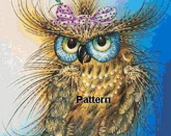 Fashion Owl. Cross Stitch Pattern. PDF Files.