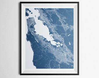 San Francisco, San Jose, California Bay Area Abstract Street Map Print