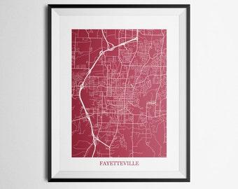 Fayetteville, Arkansas Abstract Street Map Print