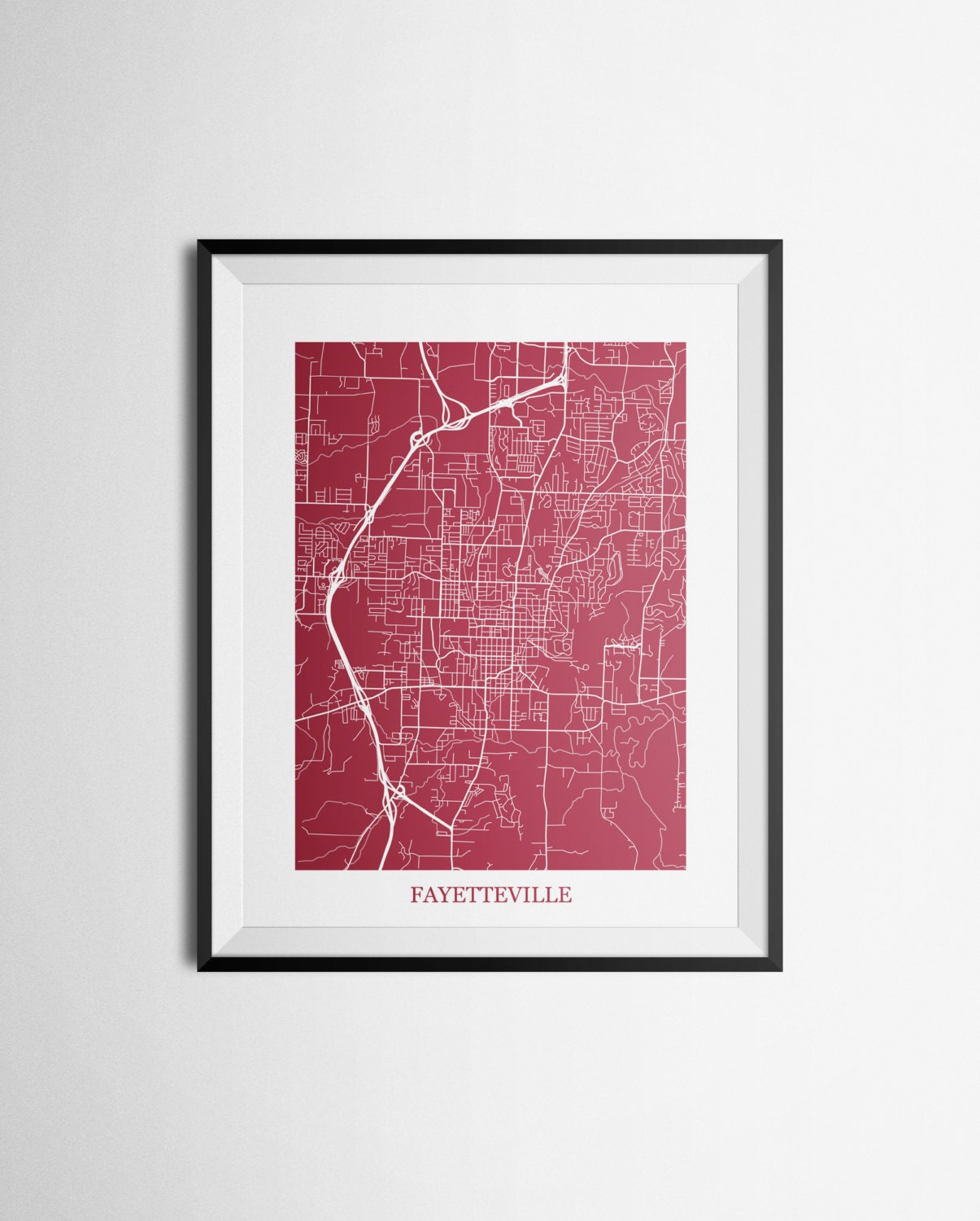 Fayetteville arkansas abstract street map print for Abstract salon fayetteville ar