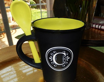 Monogrammed Black Matte Colorful Spoon Mug, Custom Mug, Coffee Mug, Tea Mug, Personalized Coffee Cup, Cup, Spoon, Monogrammed Mug