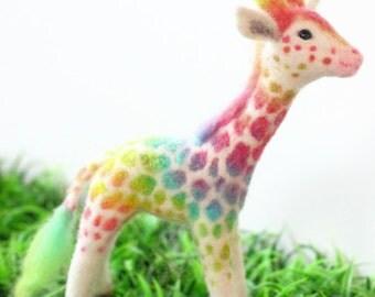 Wool Felted Rainbow Giraffe  One-of-a-kind OOAK
