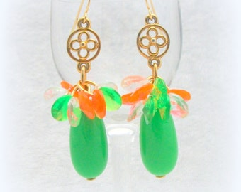 Gypsy Boho Dangle Earrings in Green Gold and Orange by Cindy Caraway