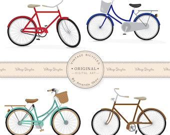 Vintage Bicycles Clip Art - Large Bicycle Clipart, Bicycle Bike Clip Art, Bicycles Clipart, Bicycle Vectors,
