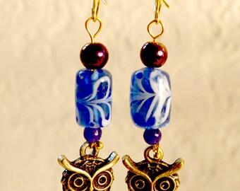 Swirling Blue Owl Earrings