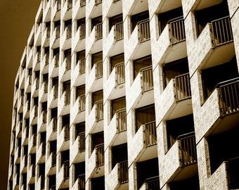 Sepia Urban Photography, Wall Art Print, Architecture Photography, Dark, Brown, Building, Windows, Geometric, Minimalist