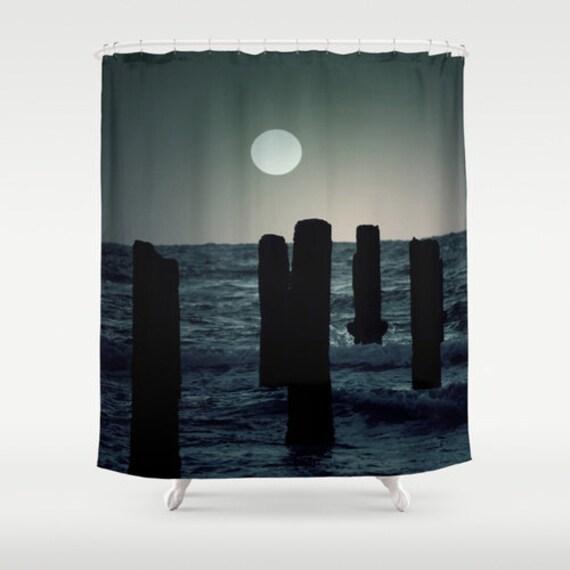Seashore at Sunset Shower Curtain, Washable Fabric, Ocean Home Decor ...