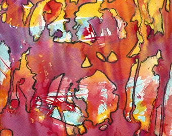 On the Surface, Colorful Abstract Ink Painting