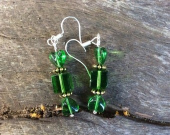 Glass bead green/gold wrapped candy lolly look-a-like earrings on surgical steel hooks