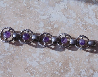 Beautiful Heavy Mexico Silver Amethyst Bracelet