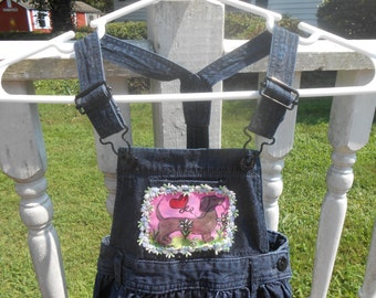 OOAK Denim Child Dress with Hand Painted Dachsund Dog Pocket, Upcycled Kid Overall Bib Dress, Original Art Clothing Size 3T -4T