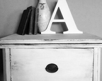 """Large wooden letter A, distressed, hand painted 14""""' rustic, vintage, farmhouse style. Nursery, wedding, photo prop.  Capital alphabet sign."""