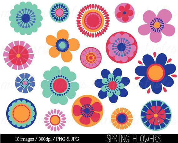 Items similar to Clipart Flowers, Flower Clipart Clip Art, Bright Flowers, Spring ...