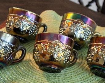 Set of 5 Northwood Carnival Glass