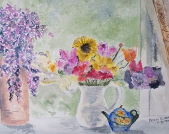 "Original watercolor painting,flower painting,cut flowers,""FRESHLY PICKED"",10.5W x 7.5,Artist Peter Kundra"