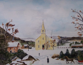 "scenic church scene,WATERcolor painting,scenic and landscape,steeple, winter scene, 10.5""x16.25"", fence, watercolor painting, chimney smoke"