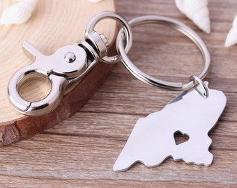I heart Maine Keychain - Maine Map Keychain - State Keyring - Map Key chains - Can be made with any state or country