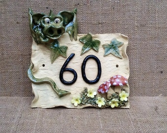 House number plaque, ceramic house sign, dragon design door numbers, ideal housewarming gift for new home