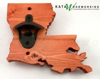 Louisiana Wood Cut-out Bottle Opener - Wall Mount - Handmade!