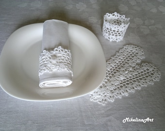 Crochet Napkin Rings, 100% Cotton, Sets of 4,8,12 White.