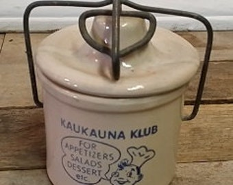 Vintage Retro Stoneware Small Kaukauna Klub Cheese Pottery Crock Advertising