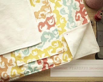 Organic Cotton Baby Blanket and Burp Cloth Set- Colorful Flock
