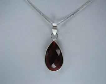 SALE Red Ruby Quartz Pendant with Chain, Gift for Her
