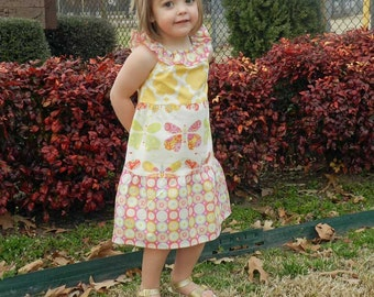 Girls Ruffled Neck Tiered Peasant Dress,Dena fabrics by Tiptop Kids