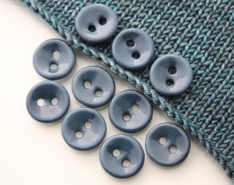 "10 Small Concave Oxford Blue Ceramic Buttons (21 mm / 0.8"")"
