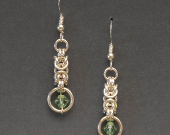 925 Sterling Silver Classic Byzantine Earrings, Chainmaille Earrings, Sterling Earwires, Swarovski Crystals  (E3)