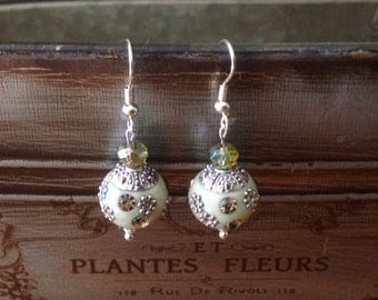 Pale green and silver flowered earrings