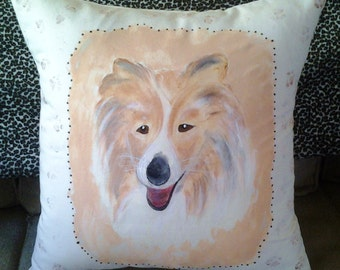 "Hand Painted Dog Pillow, Handmade, Overstuffed, Beautiful ""Lassie"" Collie Dog Painting on Calico Fabric with Removable Insert"