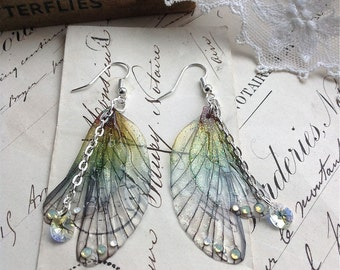 "Rather pretty Small  ""Rainbow Faerie wing earrings"""